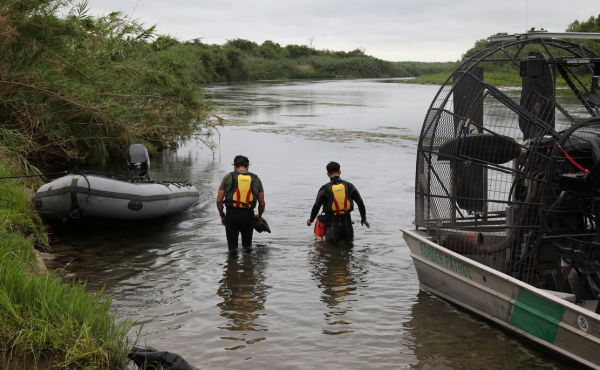 A search team looks for a 2-year-old girl who went missing in the Rio Grande near the border city of Del Rio, Texas.