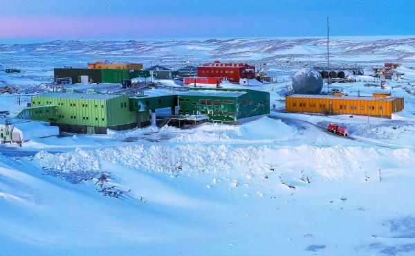 The Australian expeditioner was evacuated from Davis research station, shown here, due to a medical condition.
