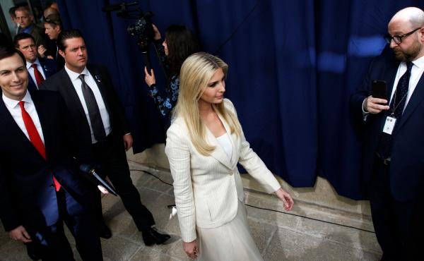 Ivanka Trump and her husband, Jared Kushner, both senior White House advisers, arrive for the inauguration of the U.S. Embassy in Jerusalem on Monday.