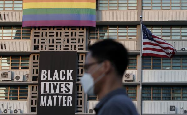 "The U.S. Embassy in Seoul, South Korea, draped a Black Lives Matter banner on its building over the weekend ""in solidarity with fellow Americans grieving and peacefully protesting to demand positive change."""