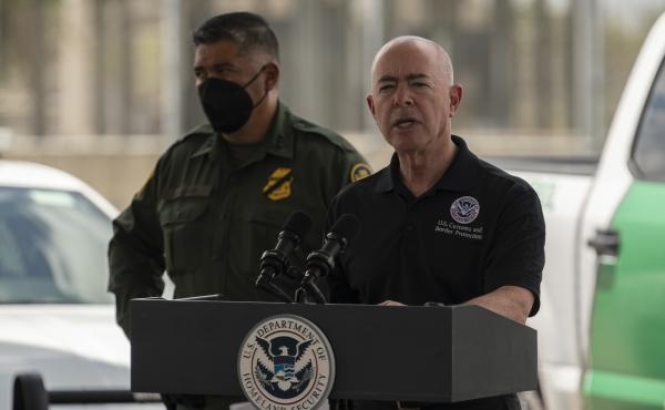 """The head of Homeland Security, Alejandro Mayorkas, says U.S. authorities encountered migrants more than 212,000 on the U.S.-Mexico border in July — an """"unprecedented number."""""""