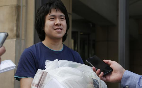 Amos Yee, a blogger who fled Singapore, spoke to reporters outside of the U.S. immigration field office in Chicago on Tuesday after being released from federal custody.