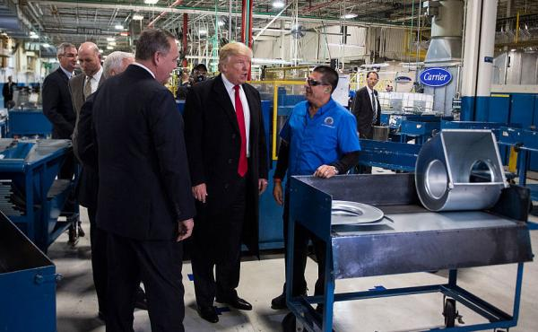 President-elect Donald Trump tours the Carrier Corp. in Indianapolis following the company's announcement it would keep hundreds of manufacturing jobs in the United States rather than move them to Mexico.