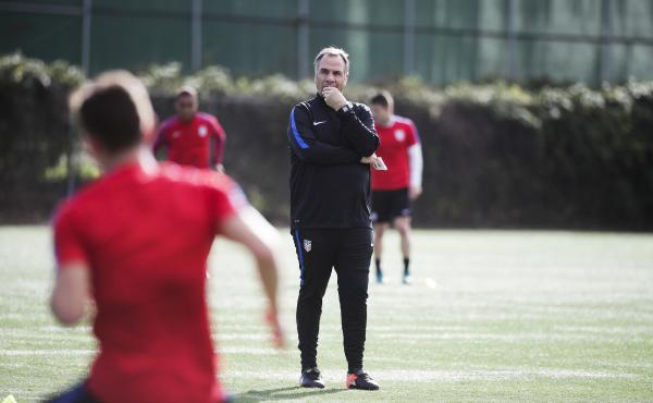 U.S. men's national soccer team coach Bruce Arena watches his team during a practice session on Jan. 11, in Carson, Calif. Arena returned to the U.S. team in November to salvage its run for World Cup qualification.
