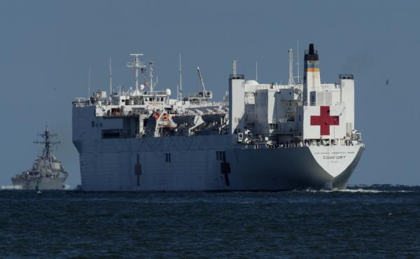 USNS Comfort, seen in 2017, is one of two U.S. Navy hospital ships — along with the USNS Mercy — that are preparing to deploy to assist medical workers expecting to grapple with an influx of patients in the weeks to come.