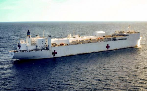 The USNS Comfort, a U.S. Navy medical ship, floats off the coast of Riohacha, Colombia. The medical vessel is on a four-country tour of the region, providing medical assistance.