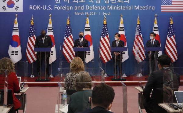 U.S. Secretary of State Antony Blinken (second from left) speaks as U.S. Defense Secretary Lloyd Austin (left), South Korean Foreign Minister Chung Eui-yong (second from right), and South Korean Defense Minister Suh Wook, right, listen during the joint pr