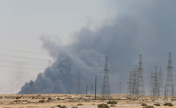 Smoke was seen billowing from an Aramco facility in Abqaiq, Saudi Arabia, after it came under attack on Saturday.