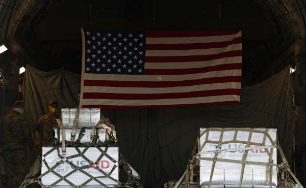 A shipment of medical aid from the United States, including 50 ventilators, appears inside a U.S. Air Force C-17 Globemaster transport plane Thursday at Vnukovo International Airport outside Moscow.