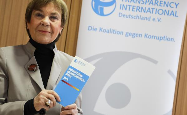 Edda Mueller of Transparency International presents the Corruption Perceptions Index 2018 at a news conference Tuesday in Berlin.