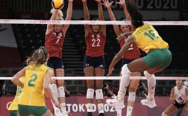 Brazil's Fernanda Rodrigues shoots while playing the United States during the gold medal match in women's volleyball at the 2020 Summer Olympics on Sunday.