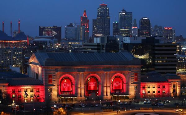 Union Station and the Kansas City skyline are lit on Feb. 01, 2021 in Kansas City, Mo. In June 2019, the U.S. Department of Agriculture announced its plan to move two of its research agencies out of Washington, D.C., to the Kansas City area. Rather than m