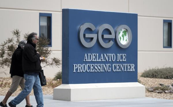 The U.S. Immigration and Enforcement processing center in Adelanto, Calif., is one of the detention facilities operated by GEO Group Inc.