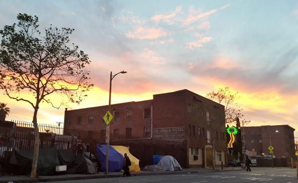 Many of LA's Skid Row residents live in makeshift tents.