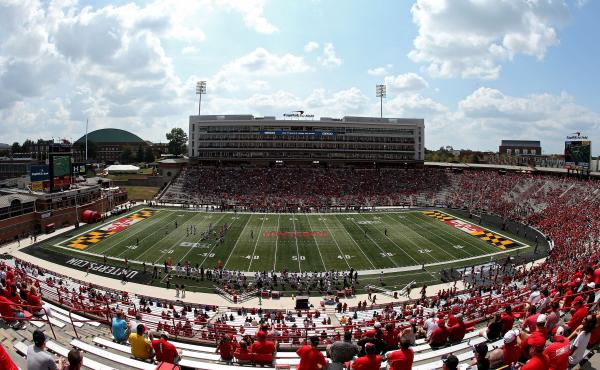 A general view as the University of Richmond (Va.) Spiders play the University of Maryland Terrapins at Byrd Stadium in College Park, Md.