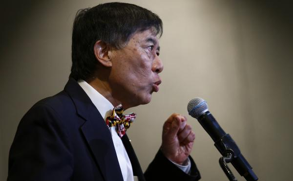 University of Maryland President Wallace Loh speaks at a news conference about the death of student athlete Jordan McNair, who collapsed at football practice and later died.