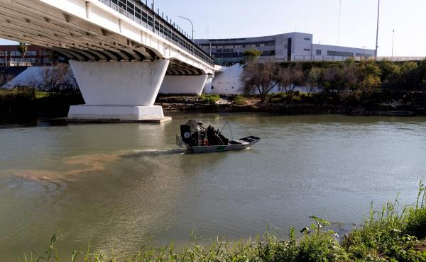 An airboat from the South Border Patrol Station in Laredo, Texas, leaves to patrol the Rio Grande River near the Laredo checkpoint.