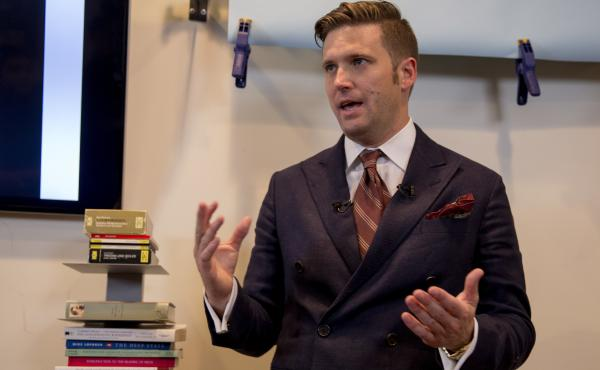 """White nationalist Richard Spencer speaks earlier this month to select media in Alexandria, Va. Spencer is head of the National Policy Institute and self-described creator of the term """"alt-right."""""""