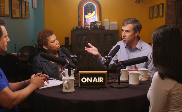 Presidential hopeful Beto O'Rourke talks to NPR Host Michel Martin and voters Ruben Sandoval and Connie Martinez.
