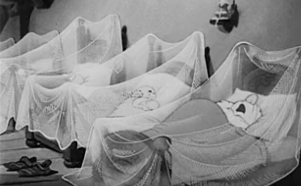 Disney put the seven dwarfs under bed nets for a 1943 short film about malaria prevention, produced for the U.S. government.