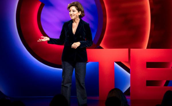 Valorie Kondos Field on the TED Stage.