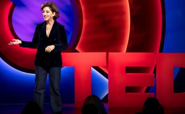 Valorie Kondos Field speaks on the TED stage