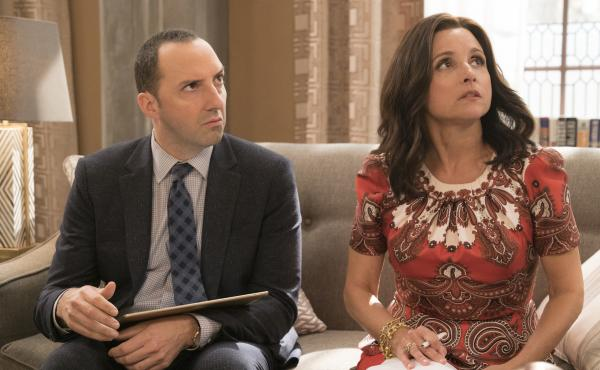 Gary (Tony Hale) and Selina (Julia Louis-Dreyfus) are still together as Veep begins its sixth season.