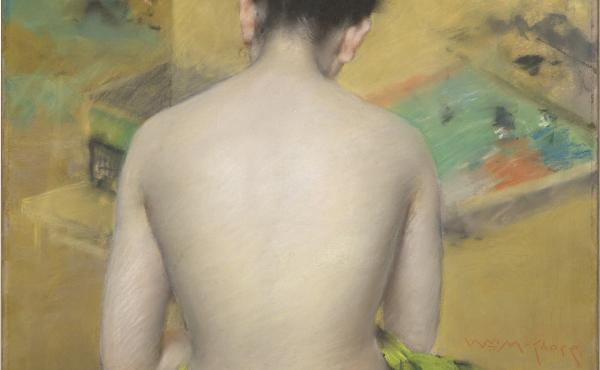 William Merritt Chase's 1888 Study of Flesh Color and Gold, pastel on paper coated with mauve-gray grit