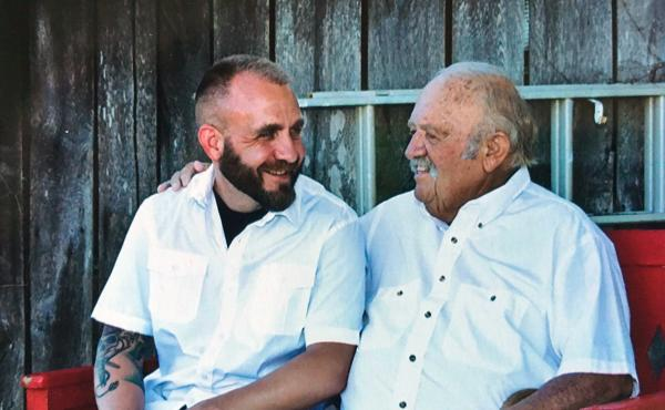 Jay Zimmerman (left) and his father, Buddy, in July 2016. Buddy, who was also a veteran, passed away last September.