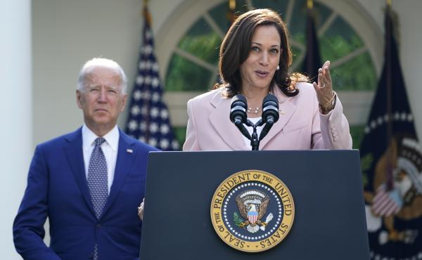 Vice President Harris, seen here in the White House Rose Garden earlier this month, will visit Singapore and Vietnam, her second foreign trip while in office.