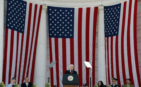 Vice President Mike Pence speaks during a Veterans Day ceremony at Arlington National Cemetery, Saturday, Nov. 11 in Washington, D.C.