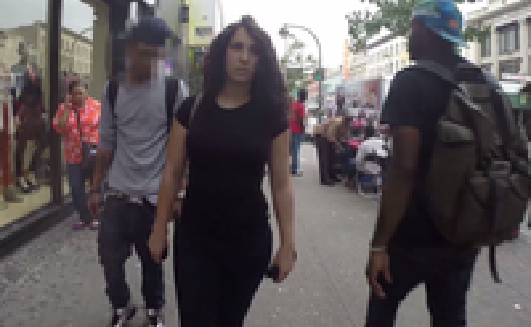 """A viral video called """"10 Hours of Walking in NYC as a Woman"""" shows the harassment a woman faces walking the streets of New York. Most of the men who street-harass, catcall, yell and follow the woman are black and Latino."""