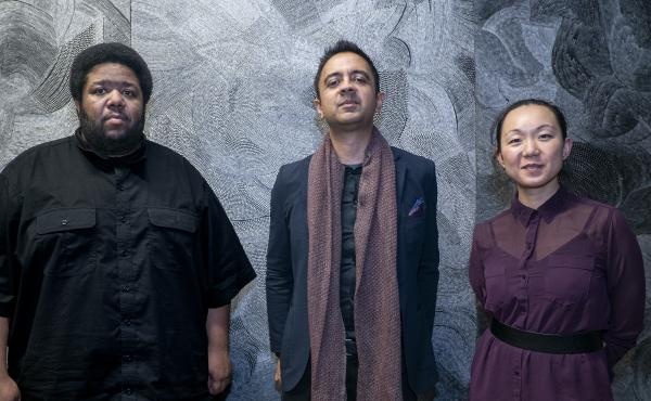 From left: Tyshawn Sorey, Vijay Iyer and Linda May Han Oh. The trio, Iyer's newest, collaborated on the album Uneasy.
