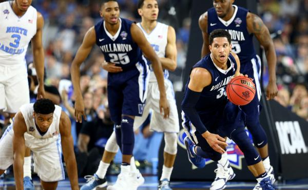 Josh Hart of the Villanova Wildcats races the ball upcourt Monday in the first half against the North Carolina Tar Heels during the NCAA championship game in Houston.