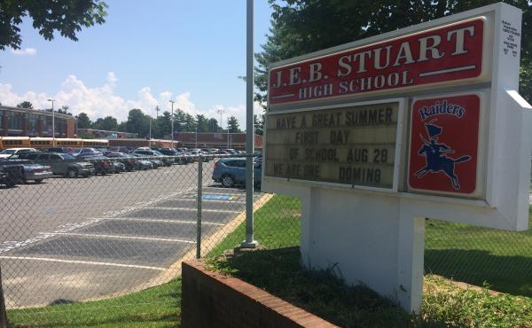 The sign for J.E.B. Stuart High School in Falls Church, Va., named after the slaveholding Confederate general, photographed in 2017. The name was changed to Justice High School two years ago.