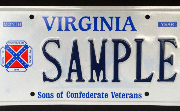 A sample Confederate battle flag license plate in Virginia.