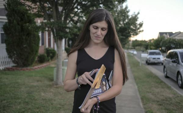 Danica Roem, democratic candidate for Virginia state legislature, canvasses through a neighborhood in Manassas, Va., last month.