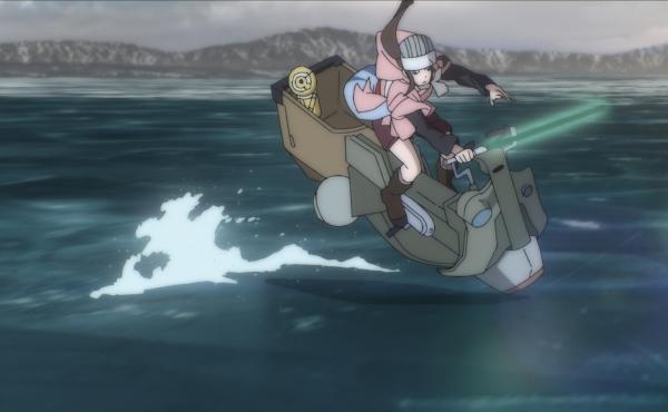 "Kara (voiced by Chinatsu Akasaki in Japanese and Kimiko Glenn in the English dub) in ""The Ninth Jedi."""