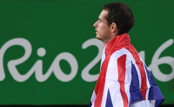 Gold medalist Andy Murray poses during the podium ceremony of the men's singles gold medal tennis event at the Olympic Tennis Center in Rio on Sunday.