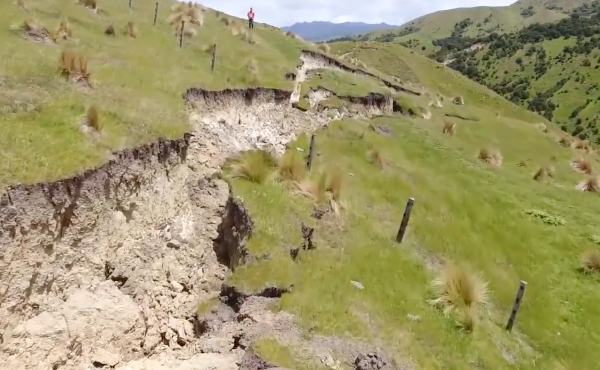 A screenshot of a drone video from GNS shows a fault rupture caused by the earthquake in New Zealand just over a week ago.