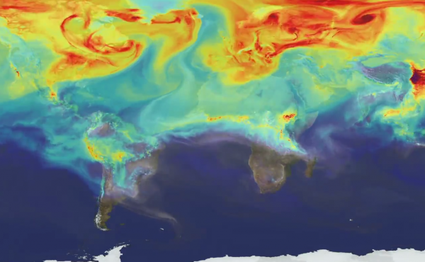 Carbon dioxide is represented by the red on this map.