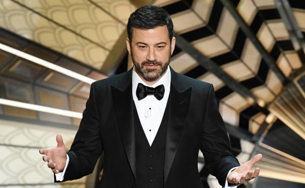 Jimmy Kimmel, seen hosting the Academy Awards in February, has been thrown into political hot waters. His name has been invoked by a GOP senator looking to pass an Obamacare repeal and replace bill.