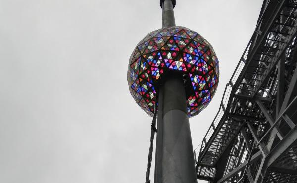 The New Year's Eve ball that will be lit and sent up a 130-foot pole atop One Times Square to mark the start of the 2019 new year in Times Square, New York.