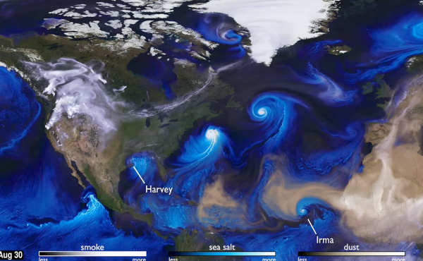 A NASA visualization shows hurricanes in the Atlantic in 2017 through their impact on aerosols in the atmosphere.