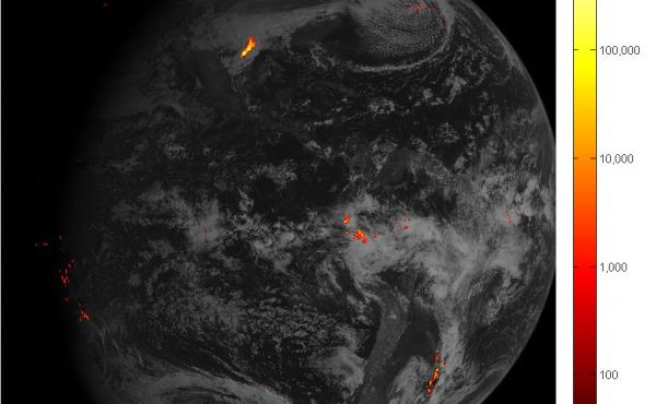 An image of Western Hemisphere lightning storms, captured Feb. 14 over the course of one hour. Brighter colors indicate more lightning energy was recorded (the key is in kilowatt-hours of total optical emissions from lightning.) The most powerful storm sy