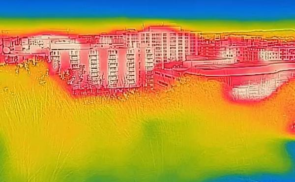 An view of Washington, D.C. through a thermal camera.