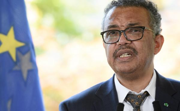 World Health Organization Director-General Tedros Adhanom Ghebreyesus speaks during a news conference earlier this week in Geneva.
