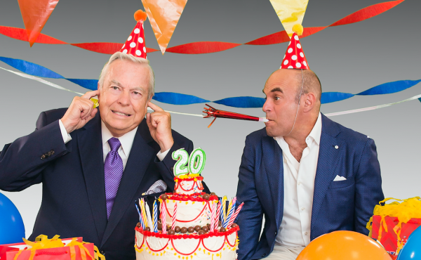Bill Curtis and Peter Sagal with a birthday cake for the 20th anniversary of Wait Wait... Don't Tell Me!