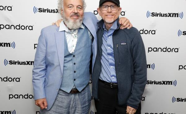Clint Howard and Ron Howard visit SiriusXM's New York headquarters in New York City.