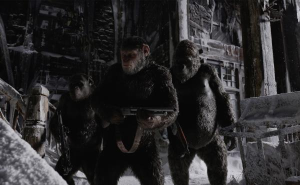 Caesar (Andy Serkis, center) and his fellow apes prepare to cross a moral Rubicon in War for the Planet of the Apes.